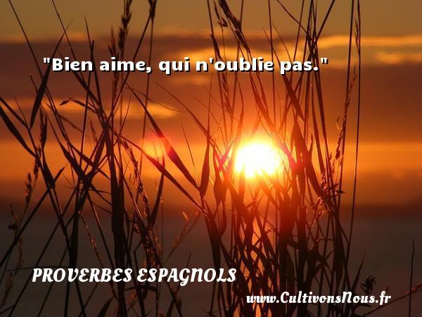 Bien aime, qui n oublie pas. Un Proverbe espagnol PROVERBES ESPAGNOLS