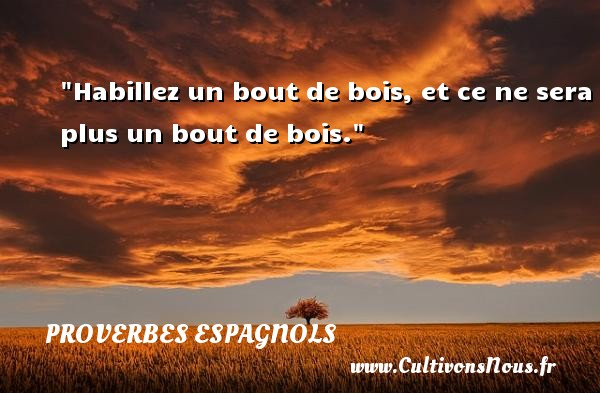 Habillez un bout de bois, et ce ne sera plus un bout de bois. Un Proverbe espagnol PROVERBES ESPAGNOLS - Proverbe bois