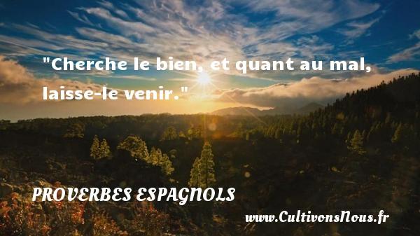 Cherche le bien, et quant au mal, laisse-le venir. Un Proverbe espagnol PROVERBES ESPAGNOLS