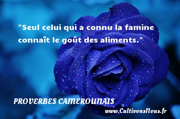 Seul celui qui a connu la famine connaît le goût des aliments. Un Proverbe camerounais PROVERBES CAMEROUNAIS - Proverbes philosophiques