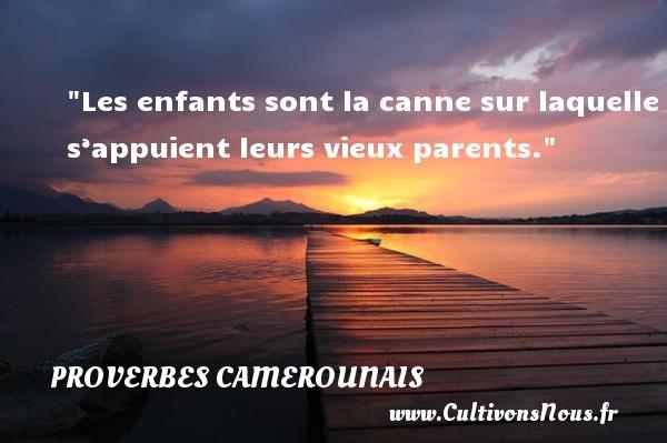 Les enfants sont la canne sur laquelle s'appuient leurs vieux parents. Un Proverbe camerounais PROVERBES CAMEROUNAIS - Proverbes philosophiques