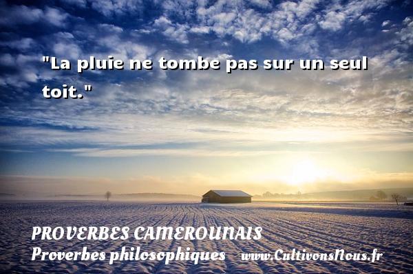 Proverbes camerounais - Proverbes philosophiques - La pluie ne tombe pas sur un seul toit.  Un Proverbe camerounais PROVERBES CAMEROUNAIS