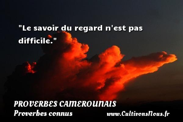 Le savoir du regard n est pas difficile. Un Proverbe camerounais PROVERBES CAMEROUNAIS - Proverbes connus - Proverbes philosophiques