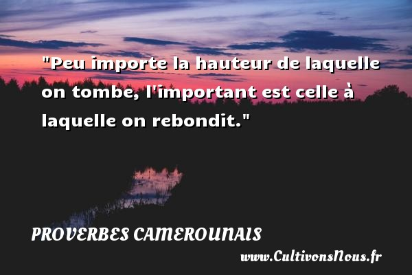 Proverbes camerounais - Peu importe la hauteur de laquelle on tombe, l important est celle à laquelle on rebondit. Un Proverbe camerounais PROVERBES CAMEROUNAIS