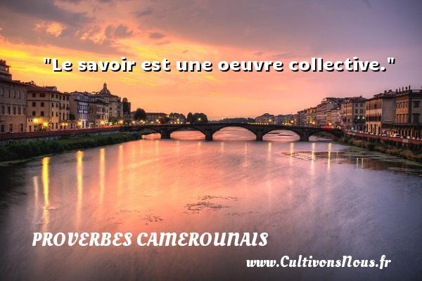 Le savoir est une oeuvre collective. Un Proverbe camerounais PROVERBES CAMEROUNAIS
