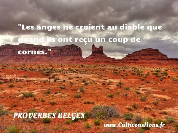 Proverbes belges - Proverbes philosophiques - Les anges ne croient au diable que quand ils ont reçu un coup de cornes. Un Proverbe belge PROVERBES BELGES