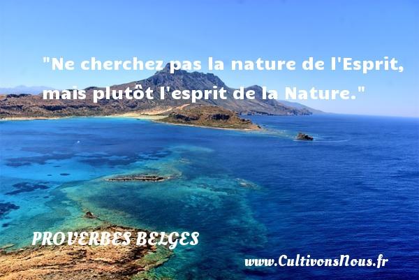 Proverbes belges - Proverbes philosophiques - Ne cherchez pas la nature de l Esprit, mais plutôt l esprit de la Nature. Un Proverbe belge PROVERBES BELGES