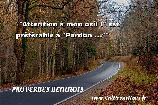 Proverbes beninois -  Attention à mon oeil !  est préférable à  Pardon ...  Un Proverbe béninois PROVERBES BENINOIS