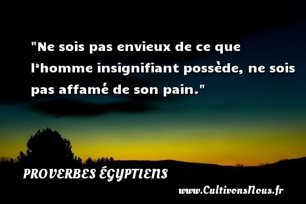 Proverbes égyptiens - Proverbe pain - Ne sois pas envieux de ce que l'homme insignifiant possède, ne sois pas affamé de son pain. Un Proverbe egyptien PROVERBES ÉGYPTIENS