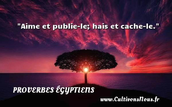 Aime et publie-le; hais et cache-le. Un Proverbe egyptien PROVERBES ÉGYPTIENS - Proverbes égyptiens - Proverbes philosophiques