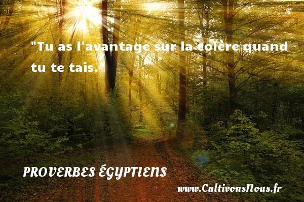 Tu as l avantage sur la colère quand tu te tais. Un Proverbe egyptien PROVERBES ÉGYPTIENS - Proverbes égyptiens - Proverbe colère