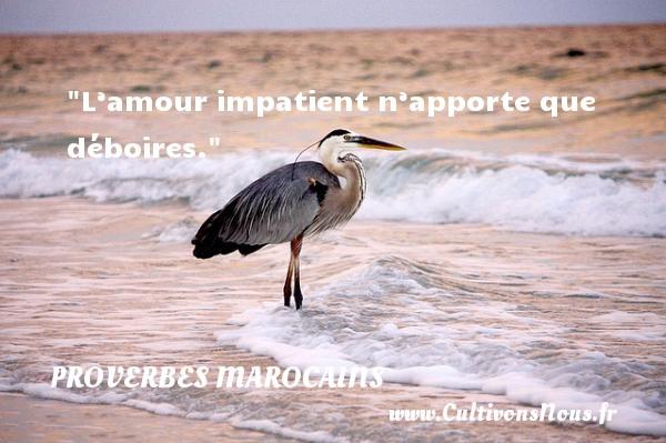 Proverbes marocains - Proverbes philosophiques - Proverbes vie - L'amour impatient n'apporte que déboires. Un Proverbe marocain PROVERBES MAROCAINS
