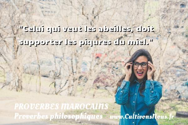 Celui qui veut les abeilles, doit supporter les piqures du miel. Un Proverbe marocain PROVERBES MAROCAINS - Proverbes philosophiques
