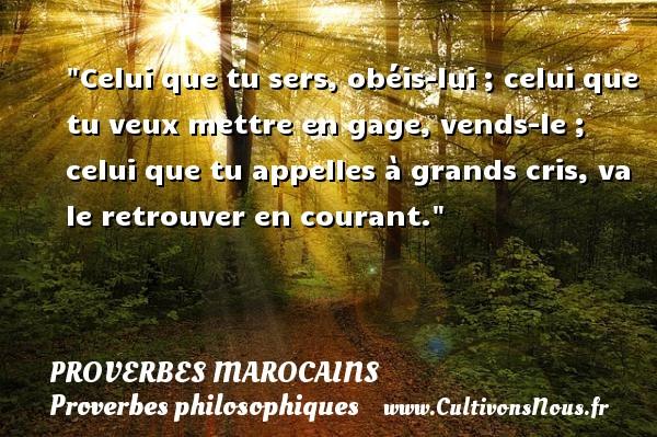 Proverbes marocains - Proverbes philosophiques - Celui que tu sers, obéis-lui ; celui que tu veux mettre en gage, vends-le ; celui que tu appelles à grands cris, va le retrouver en courant. Un Proverbe marocain PROVERBES MAROCAINS