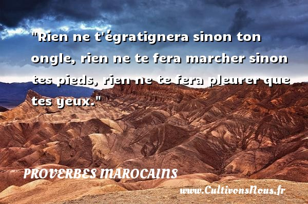 Rien ne t égratignera sinon ton ongle, rien ne te fera marcher sinon tes pieds, rien ne te fera pleurer que tes yeux. Un Proverbe marocain PROVERBES MAROCAINS - Proverbes connus - Proverbes philosophiques