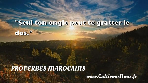 Seul ton ongle peut te gratter le dos. Un Proverbe marocain PROVERBES MAROCAINS - Proverbes fun - Proverbes philosophiques