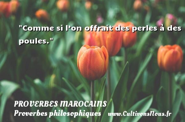 Comme si l'on offrait des perles à des poules. Un Proverbe marocain PROVERBES MAROCAINS - Proverbes philosophiques