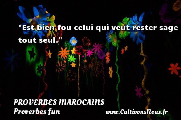 Est bien fou celui qui veut rester sage tout seul. Un Proverbe marocain PROVERBES MAROCAINS - Proverbes fun - Proverbes philosophiques