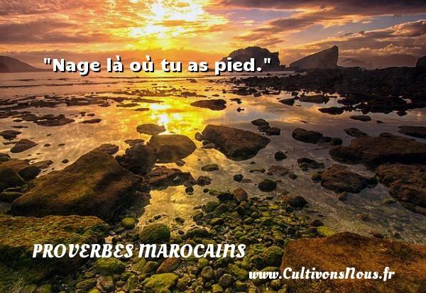 Proverbes marocains - Proverbes philosophiques - Nage là où tu as pied. Un Proverbe marocain PROVERBES MAROCAINS