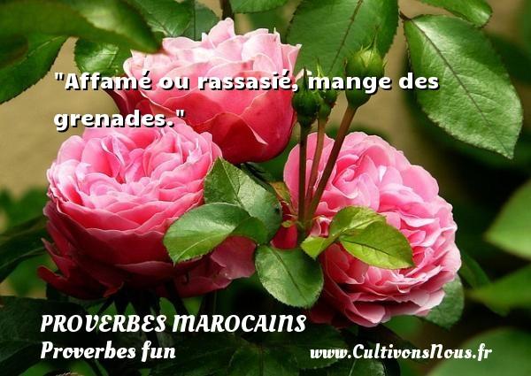 Proverbes marocains - Proverbes fun - Affamé ou rassasié, mange des grenades.  Un Proverbe marocain PROVERBES MAROCAINS
