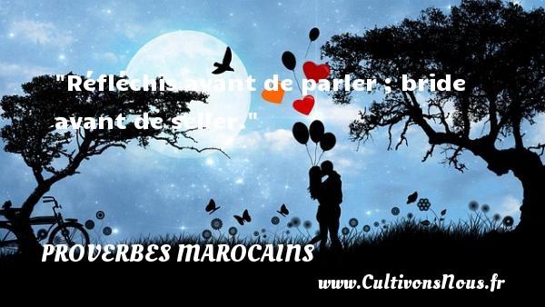 Proverbes marocains - Proverbes fun - Proverbes philosophiques - Réfléchis avant de parler ; bride avant de seller. Un Proverbe marocain PROVERBES MAROCAINS