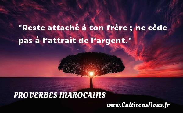 Proverbes marocains - Proverbes philosophiques - Reste attaché à ton frère ; ne cède pas à l'attrait de l'argent. Un Proverbe marocain PROVERBES MAROCAINS