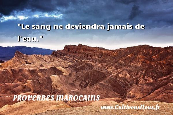 Le sang ne deviendra jamais de l eau. Un Proverbe marocain PROVERBES MAROCAINS