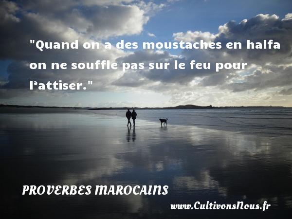 Proverbes marocains - Quand on a des moustaches en halfa on ne souffle pas sur le feu pour l'attiser. Un Proverbe marocain PROVERBES MAROCAINS