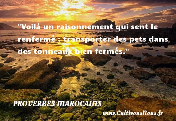 Proverbes marocains - Voilà un raisonnement qui sent le renfermé : transporter des pets dans des tonneaux bien fermés. Un Proverbe marocain PROVERBES MAROCAINS