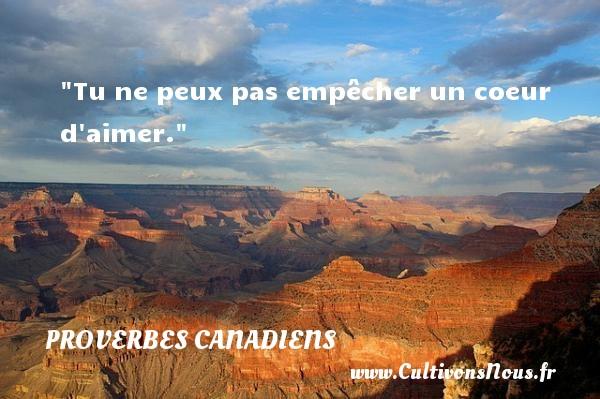 Tu ne peux pas empêcher un coeur d aimer. Un Proverbe canadien PROVERBES CANADIENS - Proverbes philosophiques - Proverbes vie