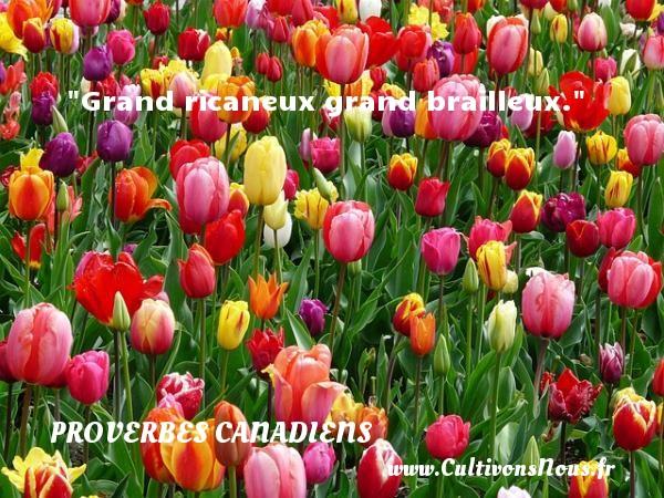 Grand ricaneux grand brailleux. Un Proverbe canadien PROVERBES CANADIENS - Proverbes connus