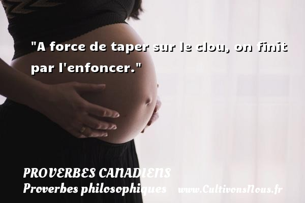 A force de taper sur le clou, on finit par l enfoncer. Un Proverbe canadien PROVERBES CANADIENS - Proverbes philosophiques
