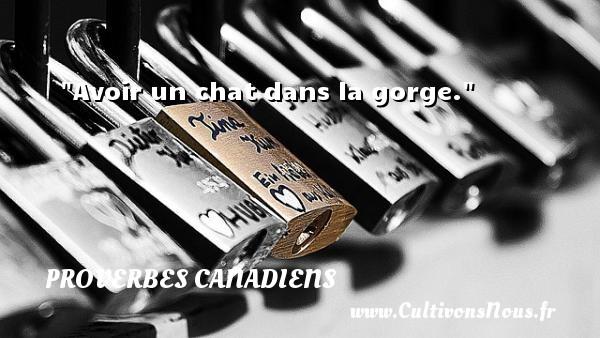 Avoir un chat dans la gorge. Un Proverbe canadien PROVERBES CANADIENS - Proverbes philosophiques