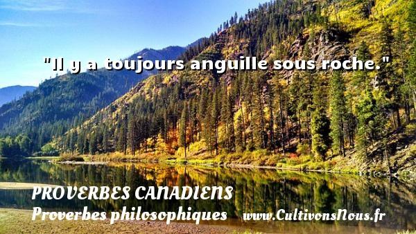 Proverbes canadiens - Proverbes philosophiques - Il y a toujours anguille sous roche. Un Proverbe canadien PROVERBES CANADIENS