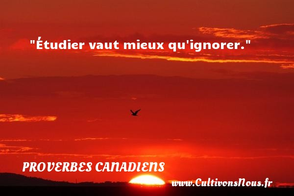 Étudier vaut mieux qu ignorer. Un Proverbe canadien PROVERBES CANADIENS - Proverbes philosophiques