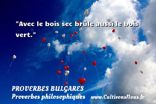 Avec le bois sec brûle aussi le bois vert. Un Proverbe bulgare PROVERBES BULGARES - Proverbes philosophiques