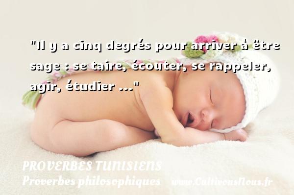 Il y a cinq degrés pour arriver à être sage : se taire, écouter, se rappeler, agir, étudier ... Un Proverbe tunisien PROVERBES TUNISIENS - Proverbes agir - Proverbes philosophiques