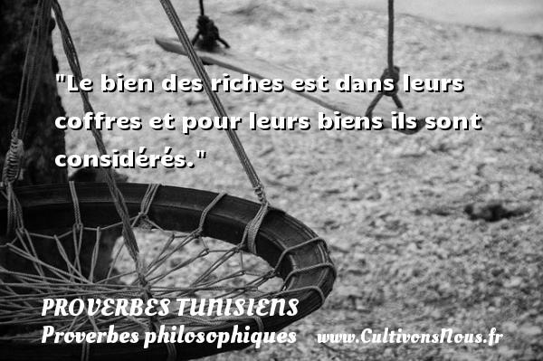Le bien des riches est dans leurs coffres et pour leurs biens ils sont considérés. Un Proverbe tunisien PROVERBES TUNISIENS - Proverbes philosophiques