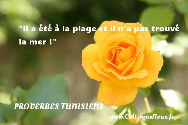 Il a été à la plage et il n a pas trouvé la mer ! Un Proverbe tunisien PROVERBES TUNISIENS - Proverbes philosophiques