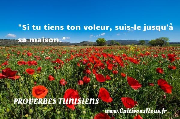 Si tu tiens ton voleur, suis-le jusqu à sa maison. Un Proverbe tunisien PROVERBES TUNISIENS - Proverbes philosophiques