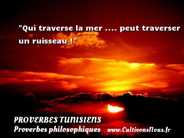 Qui traverse la mer .... peut traverser un ruisseau ! Un Proverbe tunisien PROVERBES TUNISIENS - Proverbes philosophiques