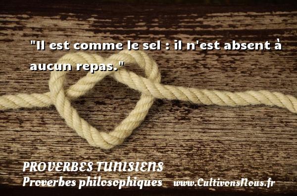Il est comme le sel : il n est absent à aucun repas. Un Proverbe tunisien PROVERBES TUNISIENS - Proverbes philosophiques