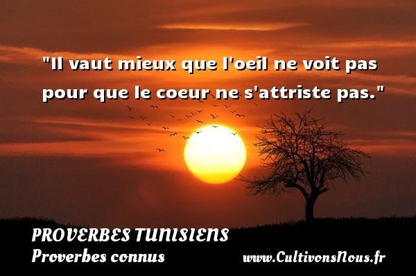 Il vaut mieux que l oeil ne voit pas pour que le coeur ne s attriste pas.  Un Proverbe tunisien PROVERBES TUNISIENS - Proverbes connus - Proverbes philosophiques