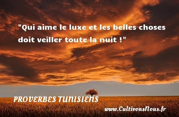 Qui aime le luxe et les belles choses doit veiller toute la nuit ! Un Proverbe tunisien PROVERBES TUNISIENS