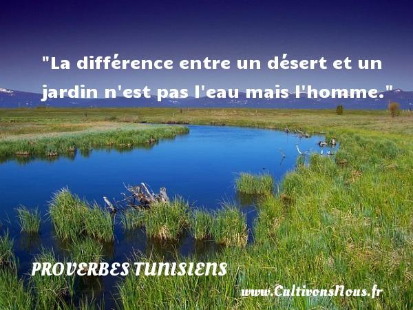 La différence entre un désert et un jardin n est pas l eau mais l homme. Un Proverbe tunisien PROVERBES TUNISIENS - Proverbe jardin