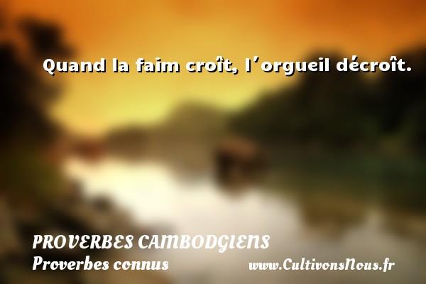 Proverbes cambodgiens - Proverbes connus - Proverbes philosophiques - Quand la faim croît, l´orgueil décroît. Un Proverbe cambodgien PROVERBES CAMBODGIENS