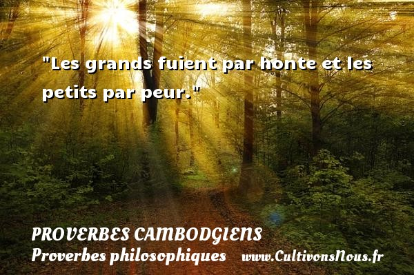 Les grands fuient par honte et les petits par peur. Un Proverbe cambodgien PROVERBES CAMBODGIENS - Proverbes philosophiques