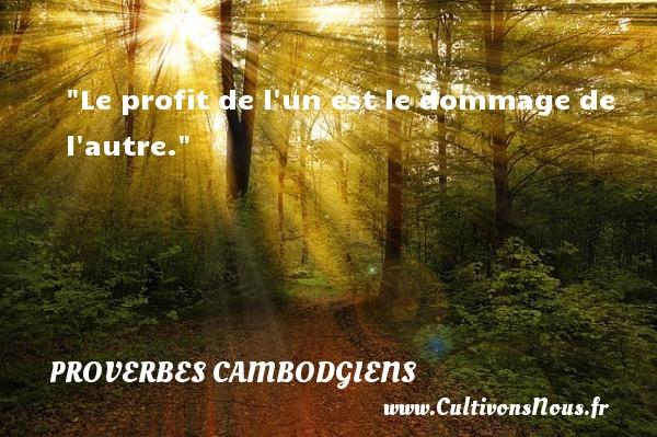 Le profit de l un est le dommage de l autre. Un Proverbe cambodgien PROVERBES CAMBODGIENS - Proverbes philosophiques