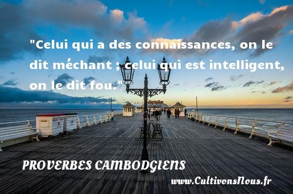 Celui qui a des connaissances, on le dit méchant ; celui qui est intelligent, on le dit fou. Un Proverbe cambodgien PROVERBES CAMBODGIENS