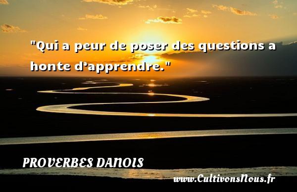 Qui a peur de poser des questions a honte d'apprendre. Un Proverbe danois PROVERBES DANOIS - Proverbes philosophiques